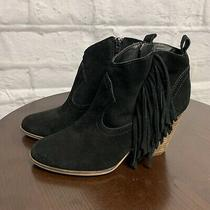 Steve Madden Cian Black Suede Leather Zip Fringe Heel Ankle Boots Booties Sz 8 M Photo