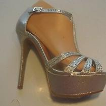 Steve Madden Cirkus Silver Rhinestone Platform Heels Sandals Shoes Size 8 Closet Photo