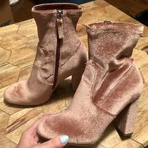 Steve Madden Edit Rose Blush Pink Crushed Velvet Sock Zip Ankle Booties Size 6 Photo