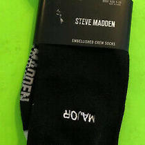 Steve Madden Embellished Crew Socks Black With White Word Major Shoe Size 5-10 Photo