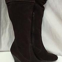 Steve Madden Encore 8.5m Brown Suede Fashion Knee High Heels Wedge Boots (1862) Photo