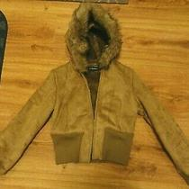 Steve Madden Faux Leather/faux Fur Lined Brown Hooded Coat Jacket Women's Medium Photo