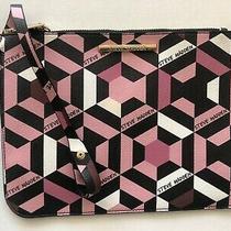 Steve Madden Flat Logo Pink Black Multi Wristlet Cosmetic Bag Pouch New Photo