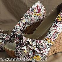Steve Madden Floral Ruffle Camio Open Toe Wedge Cork Heel Paisley Size 6m Photo