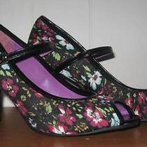 Steve Madden Girl Molly Floral Peep Toe Heeled Maryjane Pumps Shoes 8m Photo