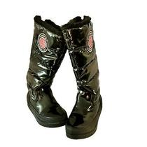 Steve Madden Girl Size 8.5 Iggloo Shiny Black Faux Fur Knee High  Winter Boots Photo