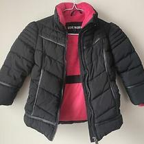 Steve Madden Girls Kids Black Puffer Pink Fleece Fur Lining Down Coat Size 4 Photo