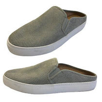 Steve Madden Gray Geena Loafer Slip on Sneaker Womens 8.5 Perforated Dotted Sued Photo