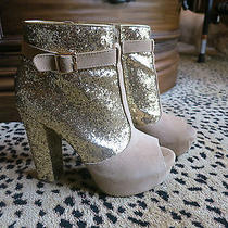 Steve Madden Hastt Gold Sequin Booties Size 8.5 Photo