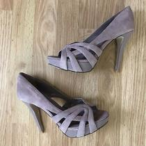 Steve Madden Heels Mauve Suede Pumps Peep Toe Platform Shoes Dusty Pink Gray 8 Photo