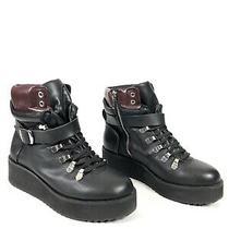 Steve Madden Hiking Flatform Black Leather Fashion Boots Shoes Women's 6.5 Photo