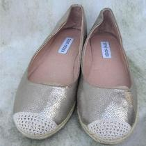 Steve Madden Homecoming Wedding Shoes Womens Ballet 8.5 Gold Fabric Dome Shoes Photo