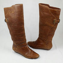 Steve Madden Iden Brown Leather Buckle Womens Shoes Knee Wedge Boots Size 7 Photo
