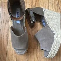 Steve Madden Jaylen Wedge Espadrille Leather Heel Taupe Slingback Shoes Sz 8 Photo