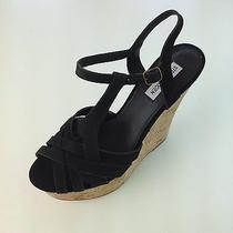 Steve Madden Ladies Black Wedge Sandals Size 10 M (New) Photo