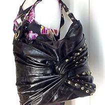 Steve Madden Large Xl Black Gold Studded Knot Hobo Tote Shoulder Bag Photo