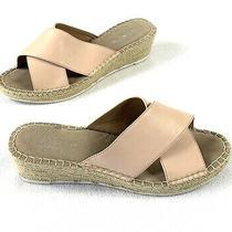 Steve Madden Leather Iva Wedge Sandals Slide Comfort Blush Size 8.5 Photo
