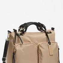 Steve Madden Lighten Up Satchel Bag Tote Sandy Brown Tan Black Trim New Photo