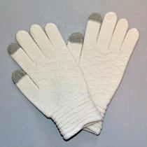Steve Madden Lurex E-Z Tap Ivory Gloves  Photo