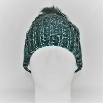 Steve Madden Lurex Green Boyfriend Beanie Hat Chunky Knit Faux Fur Photo