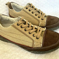 Steve Madden Men's 8 Tan Canvas Shoes Sneaker Lace Up Brown Suede Leather Toes Photo