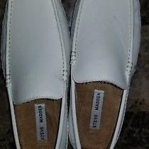 Steve Madden Mens Novo White Leather Driving Moccasins Loafers Sz 10.5 Shoes Photo