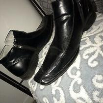 Steve Madden Mens Black Leather Square Toe  Zip Up Leather Boot Mens Size 11.5 Photo