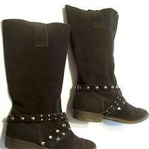 Steve Madden Nate Black Suede Motorcycle Knee Boots Flats Shoes Size 7.5 Closet Photo