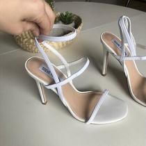 Steve Madden Nektur Vintage White Strappy Stretch Heels Photo