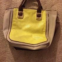 Steve Madden Neon Yellow Snakeskin Print Large Tote Handbag Photo