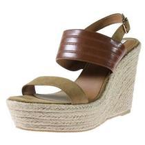 Steve Madden Nib Women's Tan Prima Suede Open Toe Cork Wedge Sandals Size 10 M Photo