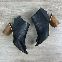 Steve Madden Nobell Open Toe Ankle Cuff Bootie Us 8.5 M Black Leather Block Heel Photo