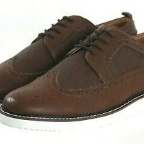 Steve Madden Nwob Men's Wingtip Dress Shoes Size 10.5 Wide Faux Leather Brown Photo