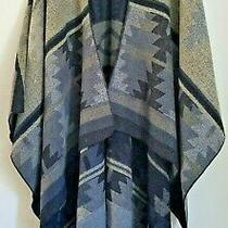 Steve Madden  Open Front Poncho Shawl Cardigan Wrap  Black & Grey  One Size Photo