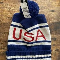 Steve Madden Patriotic Knit Usa Pompom Beanie Cap Red White Blue Slouchy Hat Photo