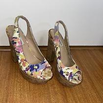 Steve Madden Peep Toe Floral Cork Platforms Genny Size 7 Photo