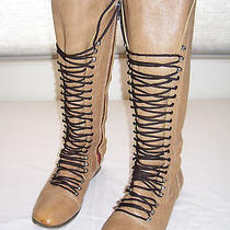 Steve Madden Perrin Leather Knee Tall Corset Grunge Military Knee Boots 8.5 Photo