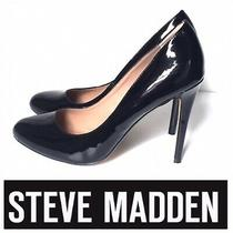 Steve Madden Pietra Patent Leather Pumps Rounded Toe High Heel Black Size 9m Photo