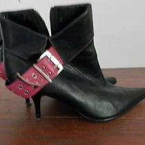 Steve Madden Pointy Toe High Heel Black Leather Ankle Boots Pink Belt 6 Stiletto Photo