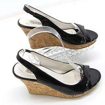 Steve Madden Primo Womens Black Patent Cork Wedge Heels Slingback Sandals 7m F5 Photo