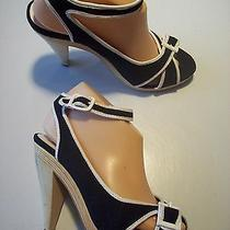 Steve Madden Replay Black Canvas Ankle Strap Sandals Heels Shoes Size 8.5 Closet Photo