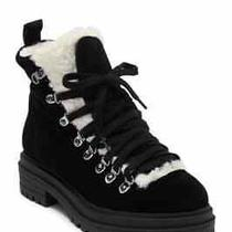 Steve Madden Resa Faux Shearling Suede High Top Bootie Black Size 8 Women Photo