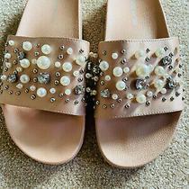 Steve Madden Sandy Embellished Slide Sandal Blush Satin Womens Size 9 M Photo