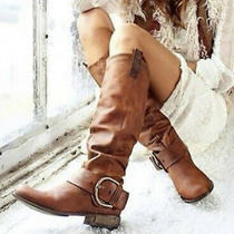 Steve Madden Satirday Cognac Tall Boot Sz 9.5 Distressed Leather Boot Knee High Photo
