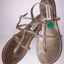 Steve Madden Shakir Rose Gold Glitter Womens Sandals Size 7.5 Nwob 59 Photo
