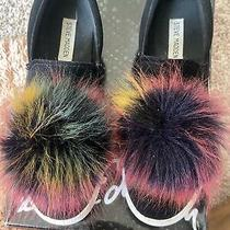 Steve Madden Shoeblack Suede Multi Color Fur Puff Ball Slip on Sneakers Size 8.5 Photo