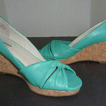 Steve Madden Shoes Wedge Peep Toe Shoes Lavvah Turquoise Size 8.5 Photo