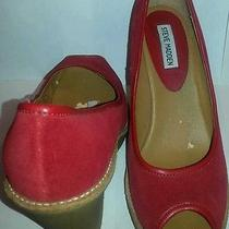 Steve Madden Size 8 1/2m Chazz Solid Red Peep Toe Suede 3 Inch Wedge Heel Shoe Photo