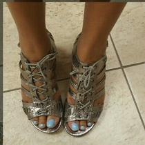 Steve Madden Snake Skin Python Silver Pewter Heels Wedges Sandals Sz 6 Summer  Photo
