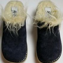 Steve Madden Stevies Girl's Size 4/5 Slip on Suede Clog Mule Shoe Faux Fur Navy Photo